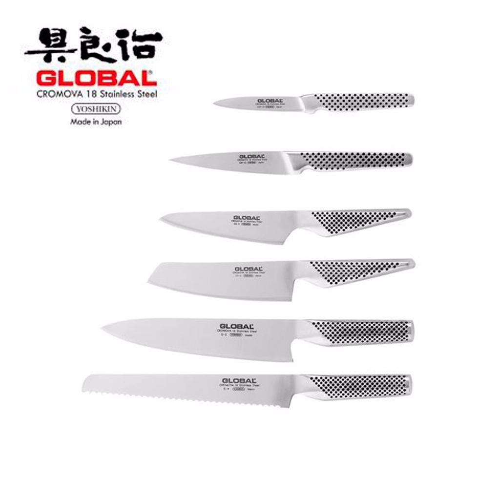 global kitchen knives aid icemaker knife ikasu block set 7 piece dining bar