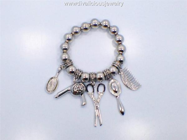 Metal Hair Stylist Scissor Diva Charm Bracelet - Gold