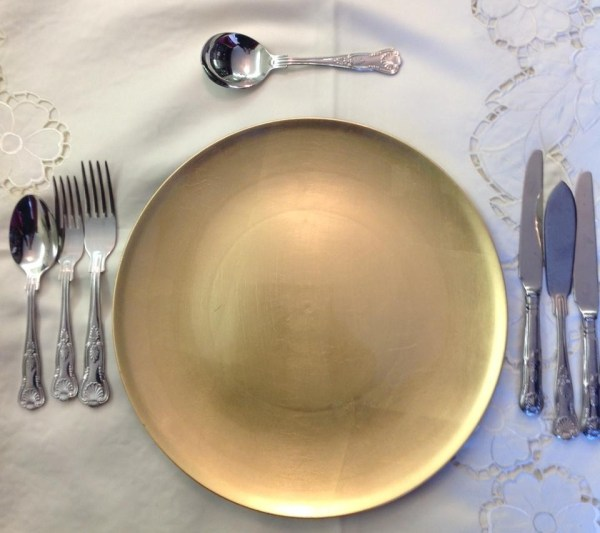 Set Of Large Lacquer Gold Charger Plates Square