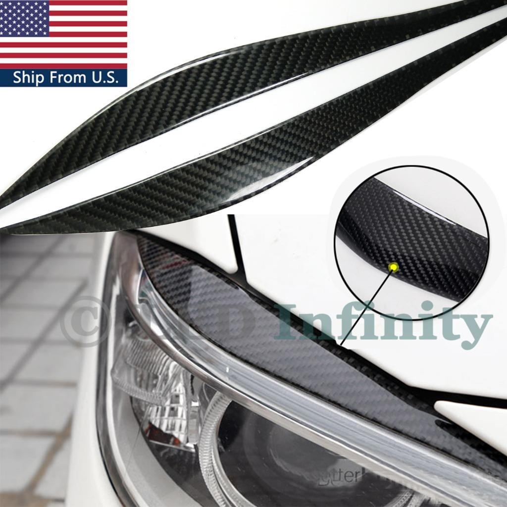hight resolution of details about carbon fiber upper headlight eye brow lids cover for 2012 2017 bmw f30 3 series