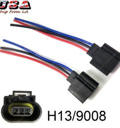 h13 9008 wiring harness female plug led headlight socket for off road truck jeep [ 1024 x 1024 Pixel ]