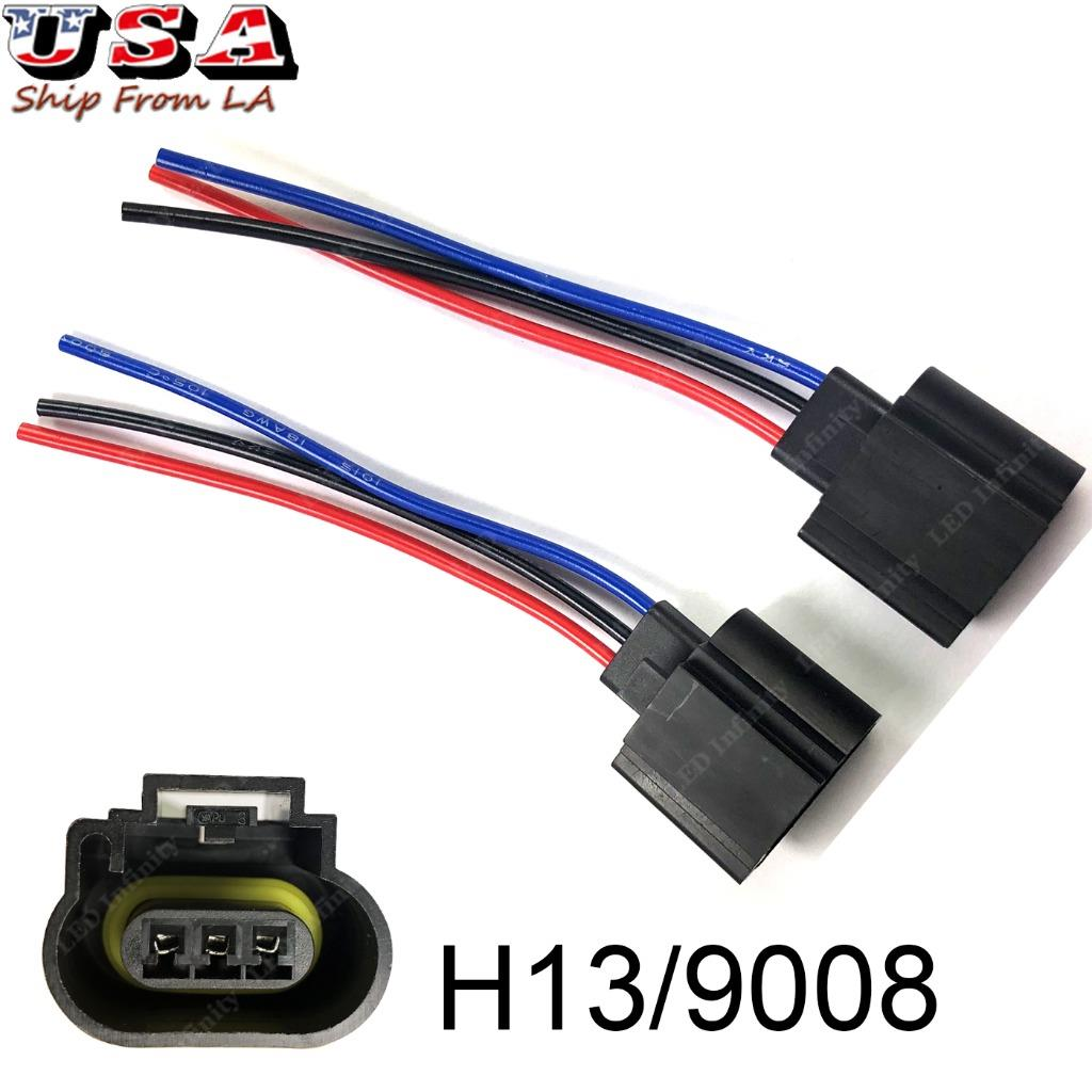 hight resolution of h13 9008 wiring harness female plug led headlight socket for off road truck jeep
