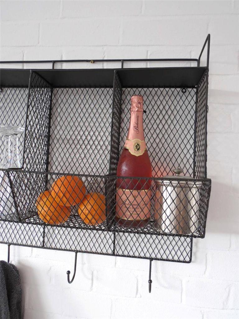 Kitchen Metal Wire Wall Rack Shelving Display Shelf