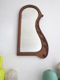 Vintage Art Deco Wall Mirror with Carved Wooden Frame | eBay