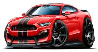 2016 2017 Shelby GT350 Mustang Car-toon Wall Art Graphic ...