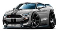 2016 2017 Shelby GT350R Mustang Car-toon Wall Art Graphic ...