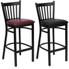 Metal Restaurant Chairs Cane For Chair Repair Heavy Duty Bar Stool Vert Back Kitchen