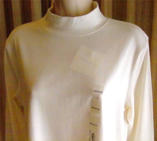 Croft & Barrow Womens White Mock Turtleneck Sizes -1x Cotton Blend Nwt