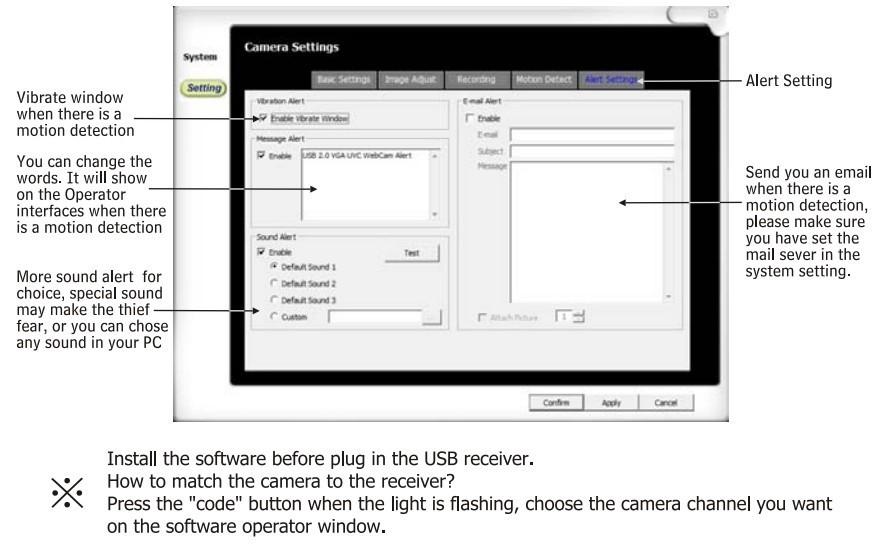 Digital Wireless Video 4CH Camera USB Receiver DVR Home