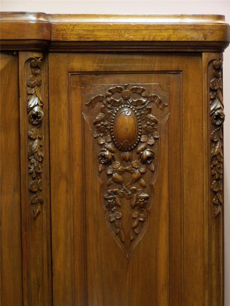 Antique French Art Deco Walnut 3 Door WardrobeLinen