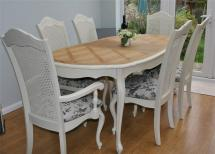 Stunning Shabby Chic French Bergere Table And 6 Chairs