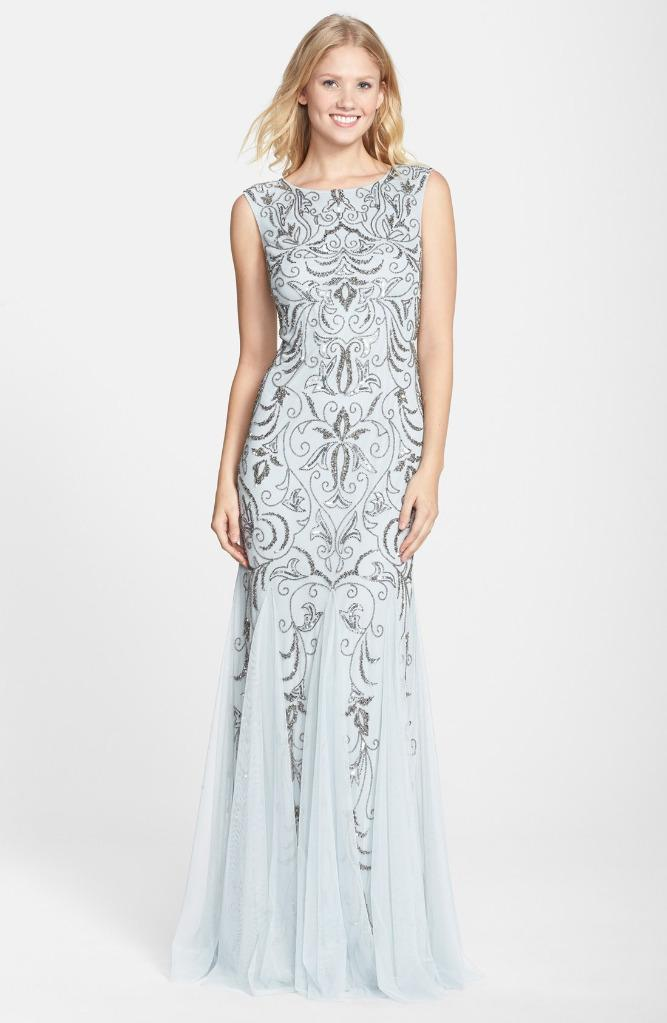 Adrianna Papell Beaded Mermaid Gown Size 2  eBay