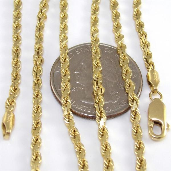 Real Solid 14k Yellow Gold Rope Chain Necklace Pick