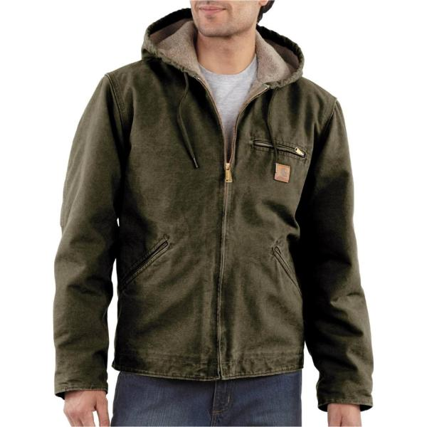 Carhartt Sandstone Sierra Hooded Coat Jacket Sherpa