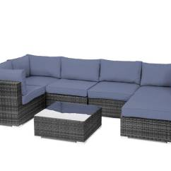 Sunbrella Fabric Sectional Sofas Deep Seated Sofa Canada Outdoor Garden Furniture 7pc Grey Rattan