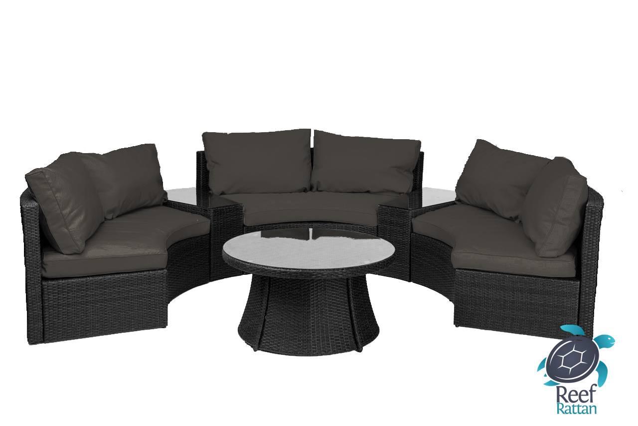 rattan half moon sofa set chaise lounge sectional reef curved black wicker sunbrella