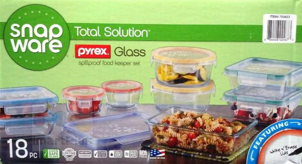 Snapware 18 PCS Pyrex Glass Ware Storage Food Containers