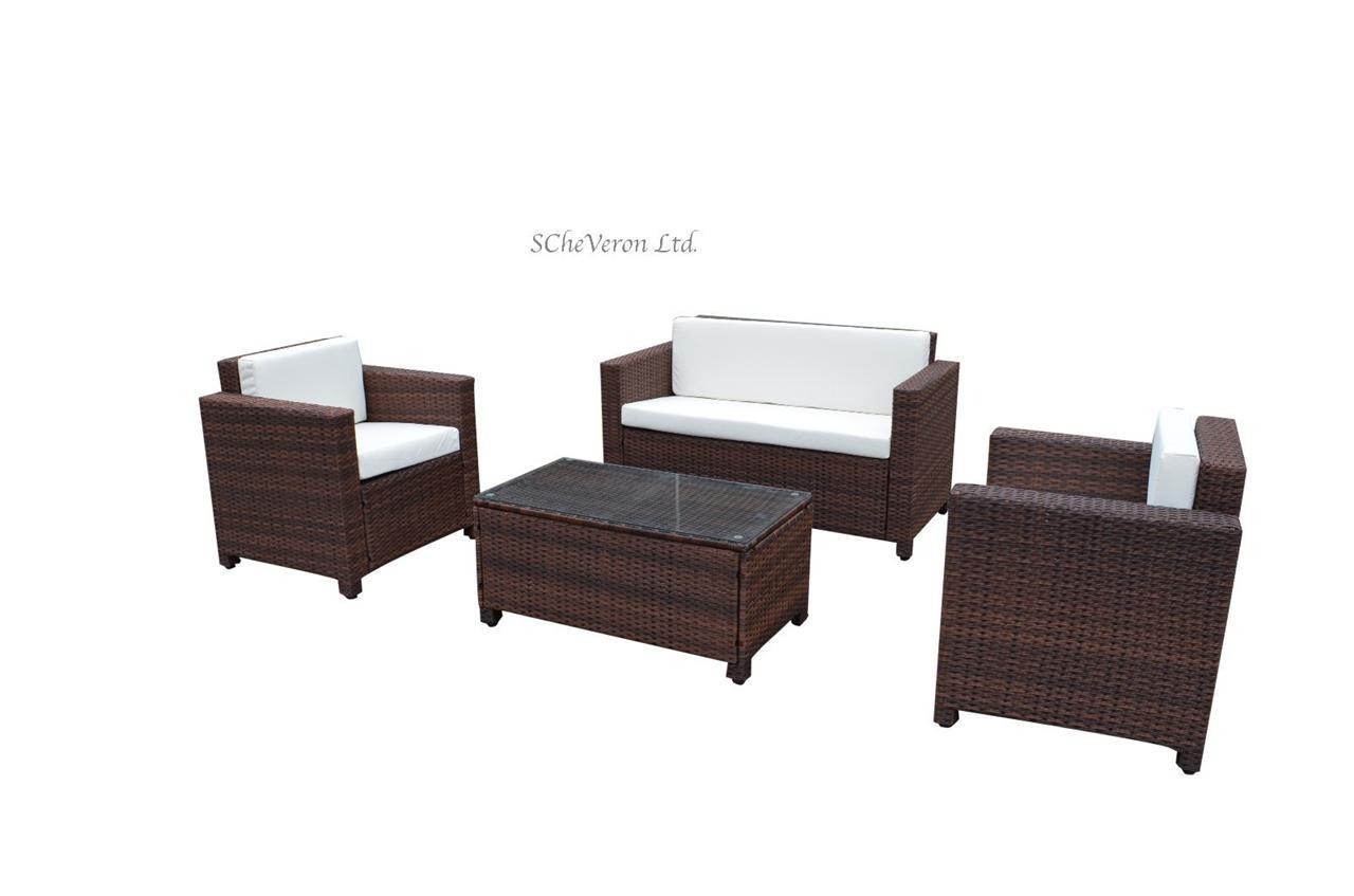 rattan indoor sofa bed light colored sofas luxurious 4pcs rome wicker garden furniture set