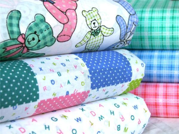 Baby Nursery Bears Alphabet Pink Blue Green Polycotton Fabric Patchwork Bunting