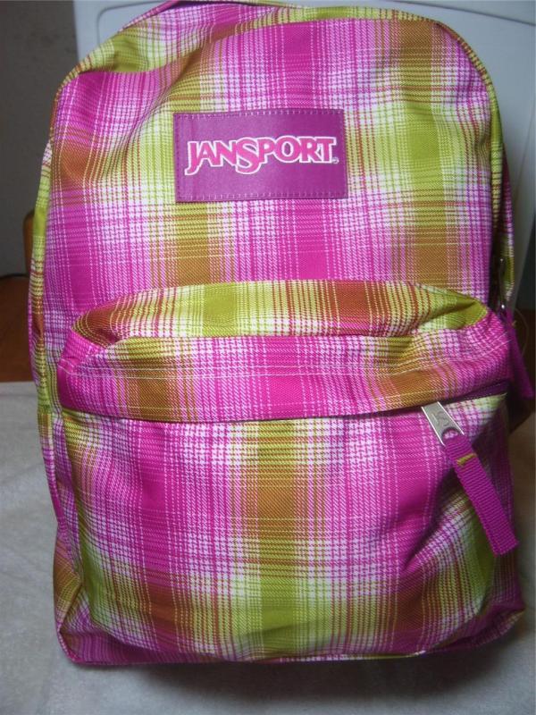 Jansport Superbreak Pink Lime Green Plaid Backpack Fun