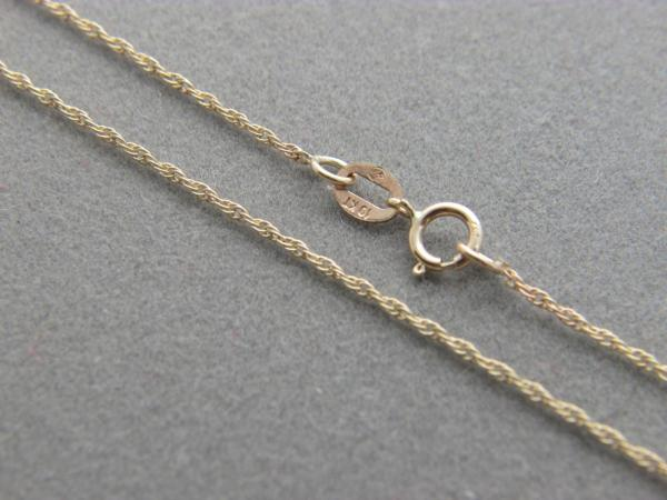 Real 10k Yellow Gold White Rope 1mm Solid Chain Necklace 10 Karat