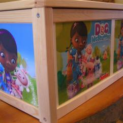 Doc Mcstuffins Upholstered Chair Uk Oak Office Personalised Toy Box With Optional Soft