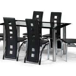 Black Dining Sets With 6 Chairs Adirondack Chair Set Glass Room Table And 4 Or 8 Faux