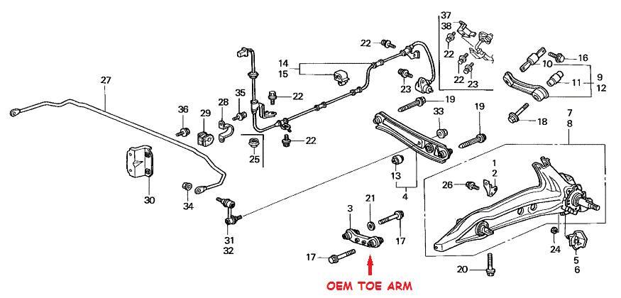 88-91 HONDA CIVIC CRX EF JDM ADJUSTABLE REAR SUSPENSION