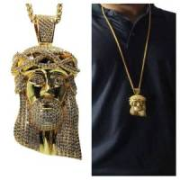 Mens 18K Gold Plated Iced Out Hip Hop Jesus Piece & 36 ...