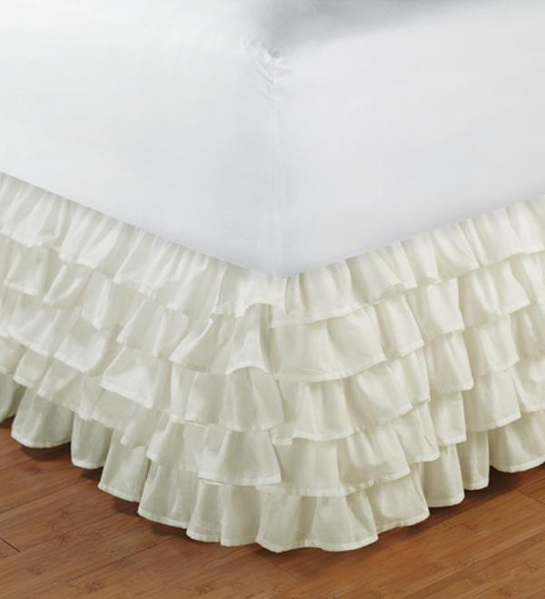 White Ruffle Layered Bed Skirt Valance Twin Xl Size-1000tc 100 Egyptian Cotton