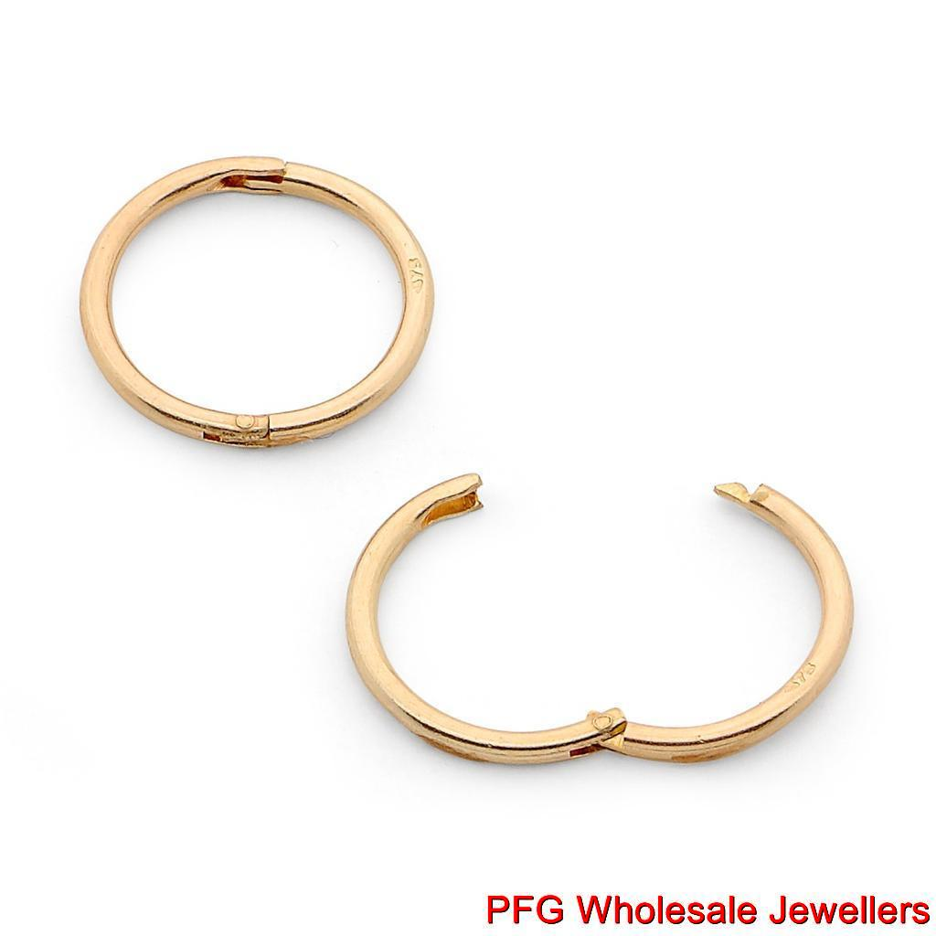 New 375 9ct Yellow Gold Solid Sleeper Hinged Hoop Non