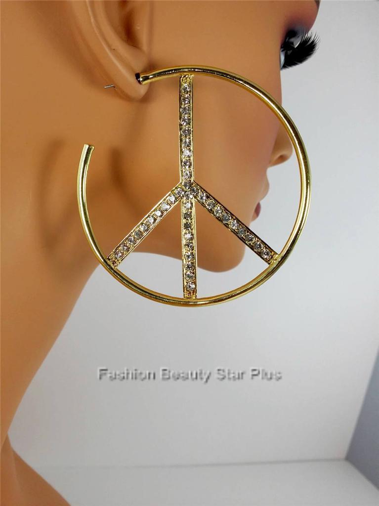 Crystal Peace Sign Hoop Earrings