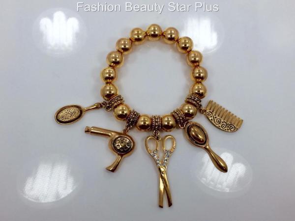 Metallic Bead Hair Stylist Scissor Charm Bracelet - Gold