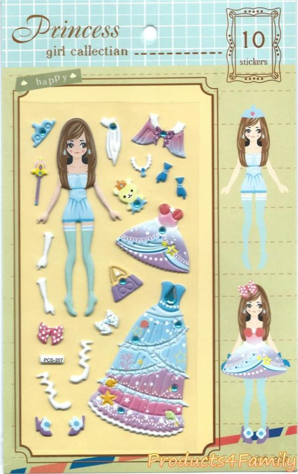 Princess Dress Up Clothes Change Fashion Cartoon Sticker