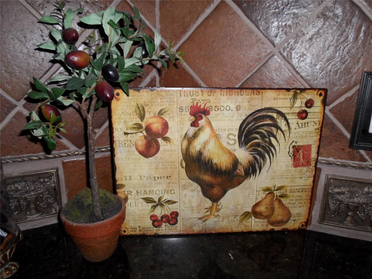 chicken decor for kitchen cost to replace cabinets french country tuscan rooster metal sign plaque wall