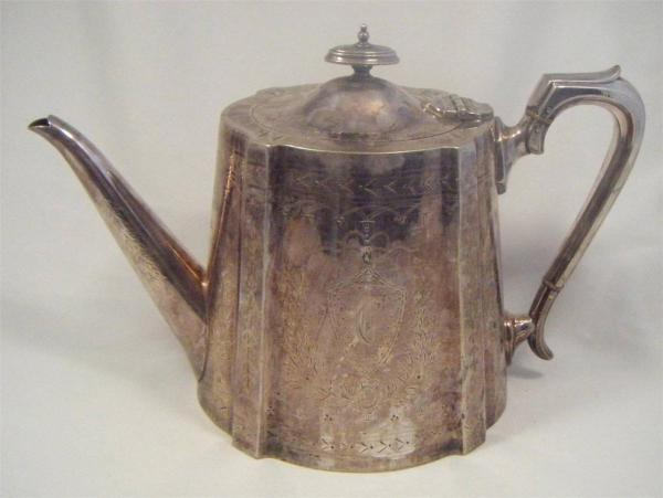 Huge Victorian Antique Silver Plated Teapot - Rmj &
