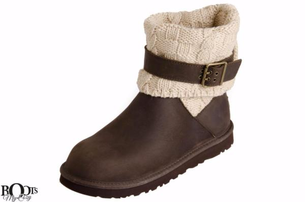 Ugg Cassidee Leather And Knit Cuff Women Boots Chocolate
