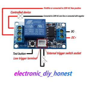 Touch button start and stop the bistable latching relay