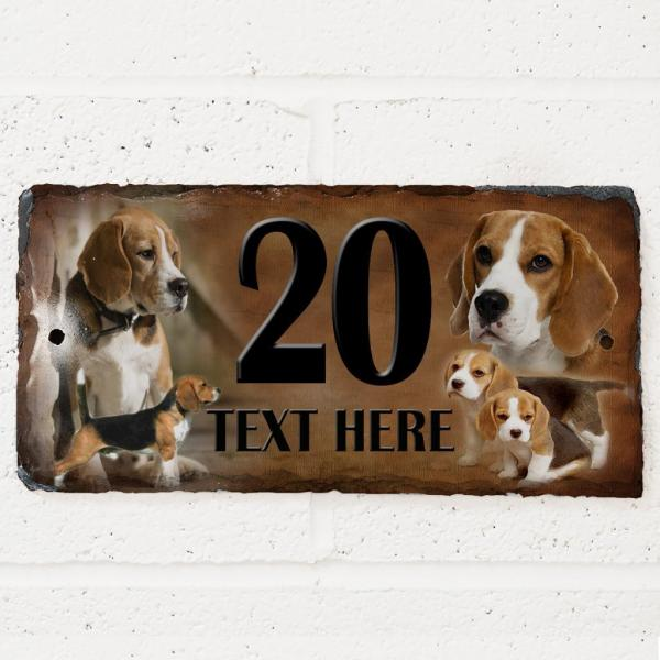Personalised Beagle Puppy Dog Gate Door House Slate Sign Number Plaque