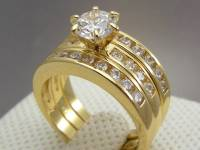 Cathedral Yellow Gold Filled Wedding Engagement 3 RING SET ...