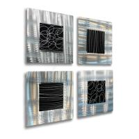 Set of 4 - Silver & Black Metal Wall Art Accent Sculpture ...
