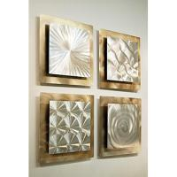 SET OF 4 Silver AMP Gold Metal Wall ART Accent Sculpture ...