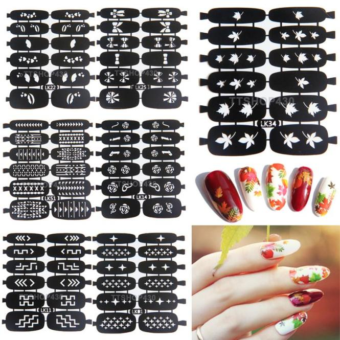 Aliexpress 1 Pc 81 Designs Nail Art Stencils For Nails Plates Polish Print Template St Sting Image Plate Diy Manicure Tools From