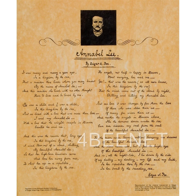 2 M Cript Reproductions Edgar Allen Poe Parchment The