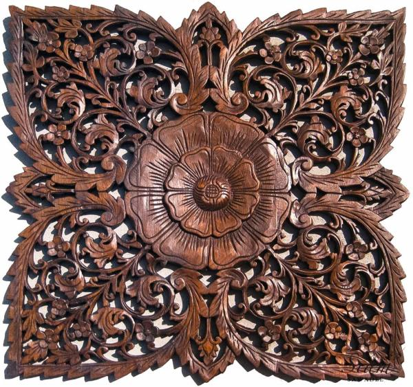 Wood Carved Decorative Wall Art Plaque. Asian Decor
