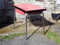 VINTAGE FRENCH, RED FORMICA EXTENDING KITCHEN TABLE ON ...