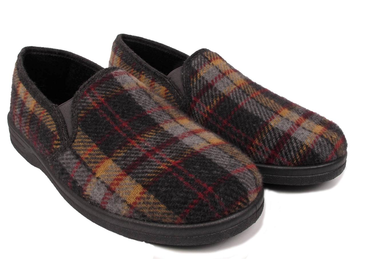 MENS TARTAN SLIPPERS SLIP ON CASUAL INDOOR HOUSE BEDROOM