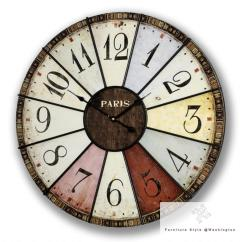 Retro Kitchen Wall Clock Stainless Steel Cart Large Clocks Shabby Chic Vintage Station