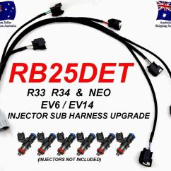 R34 Rb25det Neo Wiring Diagram Pool Pump Setup Injector Sub Harness Loom Upgrade Skyline R33