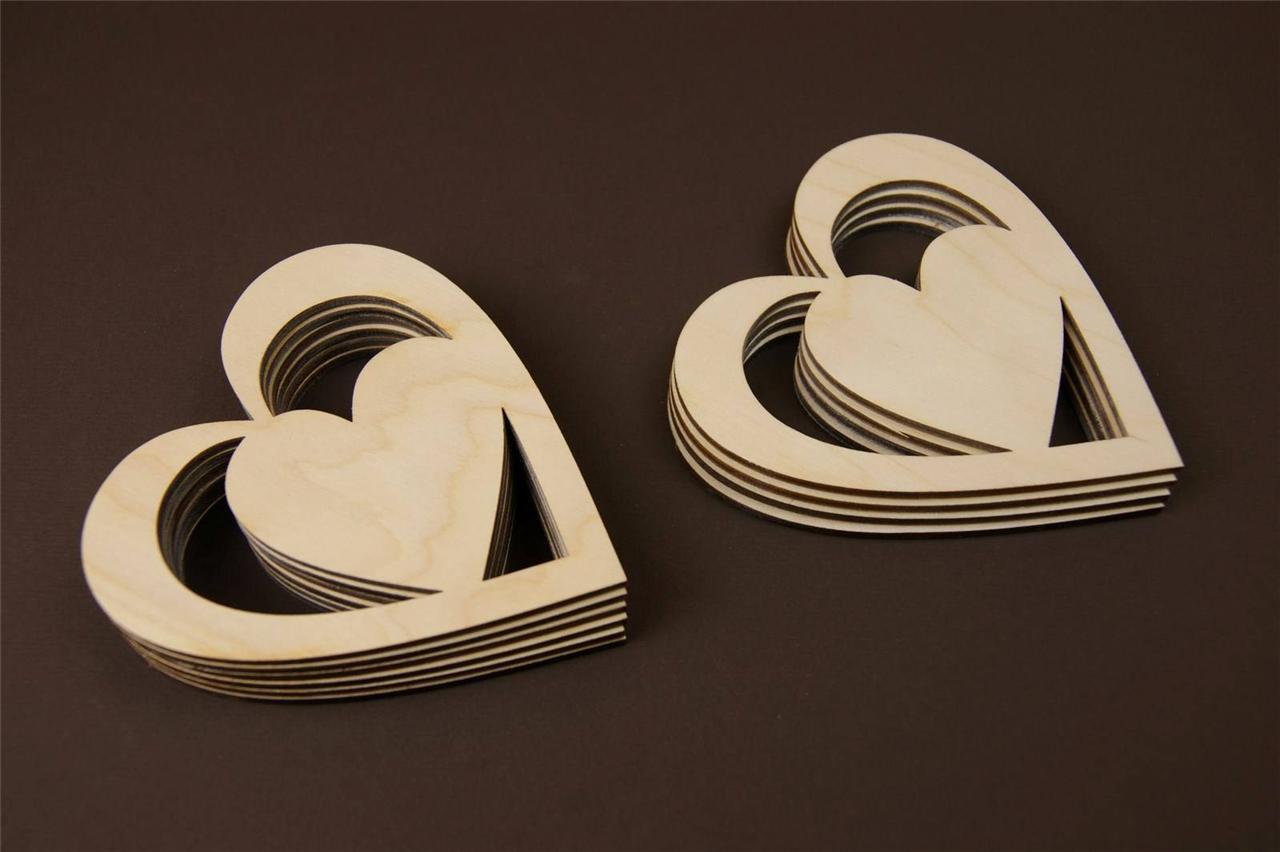 10x Holz Herzen DiagonalFormHerzen Basteln Deko  eBay